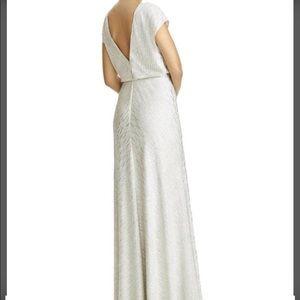 Silver metallic evening gown. Jenny Yoo size 18